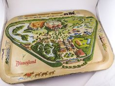 1955 Disneyland Large Rare Tin Souvenir Serving Tray Park Map in Collectibles, Disneyana, Vintage (Pre-1968) | eBay