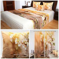 Beżowe dodatki dekoracyjne do sypialni z kwiecistym konarem