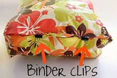use clips to hold pillow seams together while hand sewing them shut