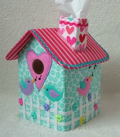 PATCHWORK / QUILTING APPLIQUE TISSUE BOX COVER BIRD HOUSE SEWING PATTERN by Gail
