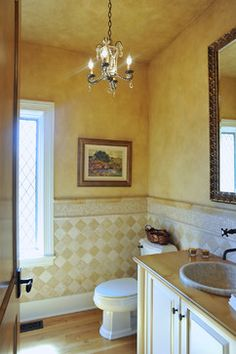 French Country Style Powder Room - mediterranean - powder room - minneapolis - Laurie Plattes - The Color Country Style Homes, French Country House, French Country Decorating, Mediterranean Tile, Glazed Walls, Powder Room Design, Bath Design, Tile Design, Country Kitchen