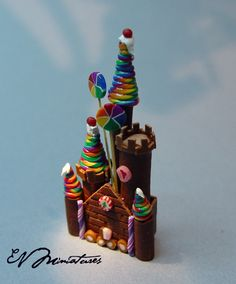 Miniature Colorful Candy Rainbow Castle by Erika Van Horne