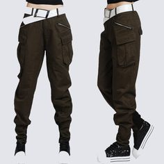 khaki cargo pants women Casual pants multi pocket pants overalls female loose trousers autumn hip-hop pants