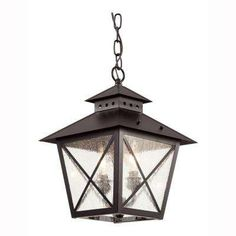 Farmhouse 2-Light Outdoor Hanging Black Lantern for hanging from trusses