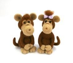 Monkey.Needle Felted Monkey.Symbol of 2016.Felt Monkey.Brown Felted Animal.Soft Sculpture.Felted Animal.Miniature.Made to order.