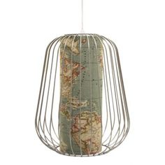 So pretty! The Map Pendant Ceiling Light has a mild steel frame with a printed map themed inner.