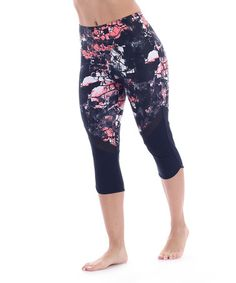 Another great find on #zulily! Navy & Pink Urban Mosaic Pieced Capri Leggings #zulilyfinds