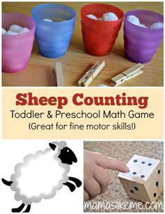 Counting Sheep Preschool Math Exploration and Fine-Motor Skills Activity - Mamas Like Me