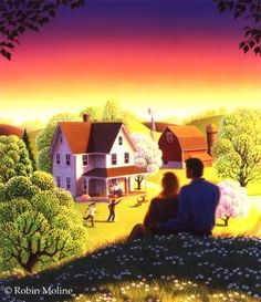 Robin Moline ~ Our House. Sharon ❤️ Jesus is coming again, soon! Illustrations, Illustration Art, Perfect Movie, Storybook Cottage, Jesus Is Coming, Cottage In The Woods, 3d Background, Naive Art, Beautiful Paintings