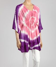 This Purple & Pink Tie-Dye Cape-Sleeve Tunic by Advance Apparels is perfect! #zulilyfinds
