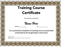 Training certificate templates for word on the download button 15 training certificate templates free download yelopaper Images