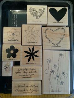 Stampin Up SIMPLY SAID Rubber Stamps SAYINGS Hearts Flowers FRIEND Thanks Love #StampinUp #ThankYouFriend