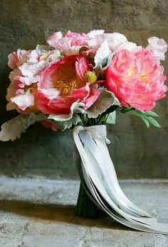 Pink Peonies, Pink Sweet Peas, White Sweet Peas, Yellow Craspedia, Dusty Miller & Greenery/Foliage Hand Tied Wedding Bouquet With Light Blue & White Ribbons ••••