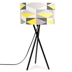 YELLOW metal tripod lamp, yellow/grey, H 51 cm