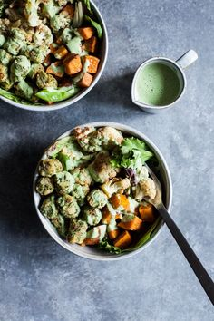 These roasted vegetable & kale puff nourish bowls with creamy hemp herb dressing come together in minutes for a nutritious, comforting meal!