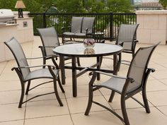 Aluminum Sling Arm Patio Furniture Set - Sling Chair Patio ...
