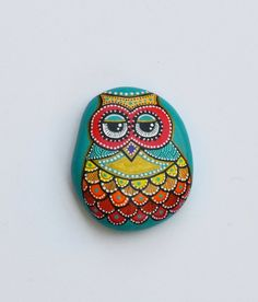 Hand Painted Stone Owl by ISassiDellAdriatico