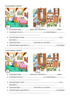 Két szoba közötti különbségek Special Needs, My Room, Grammar, Vocabulary, Worksheets, Literature, Teaching, Education, School