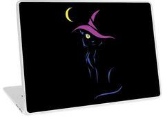 Halloween Black Cat Laptop Skin #halloween #cats #kittens #witch #moon