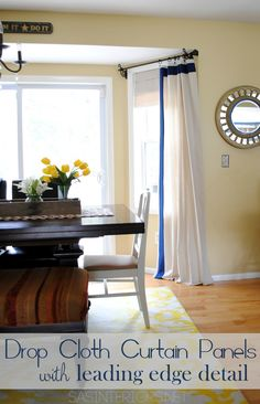 DIY: Drop Cloth Window Panels with Leading Edge Detail. High-end look for less than $20 to make. via @Jenna_Burger, www.sasinteriors.net