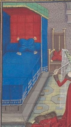 Regnault de Montauban, rédaction en prose. Regnault de Montauban, tome 3 Date d'édition : 1451-1500 Ms-5074 réserve Folio 282v Medieval Bed, Medieval Life, Medieval Embroidery, Medieval Furniture, Early Modern Period, Late Middle Ages, 15th Century, Illuminated Manuscript, Home Projects
