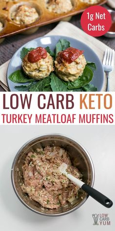 Cheesy ground turkey meatloaf muffins are sure to be a hit. The best part is that they come pre-portioned with no need for slicing! If you're getting bored of plain old low carb meatloaf or want to go beyond a spiced chicken meatloaf, just change it up! There are countless ways to make the ground meat mixture different. Turkey Meatloaf Muffins, Ground Turkey Meatloaf, Chicken Meatloaf, Low Carb Chicken Recipes, Beef Recipes, Low Carb Recipes, Cooking Recipes, Healthy Recipes, Low Carb Meatloaf