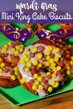 Mardi Gras Mini King Cake Biscuits -a kid friendly breakfast treat made with just 2 ingredients: canned biscuit dough and Trix cereal.