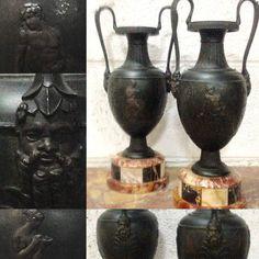 paire de cassolettes empire en regule patinée décor à l'antique . XIX siècle .