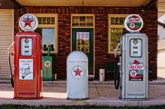"""Sky Chief"" by Mary Machare Driving through Gibbsville, Wisconsin, on a Sunday afternoon, I couldn't help but stop and take a photo of this wonderful old filling station. In 1932, Texaco introduced Fire Chief gasoline nationwide, a motor fuel that meets the octane requirements for fire engines."
