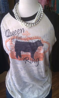 Show Steer Queen of the Ring Baseball by SilverSteerBoutique, $48.00