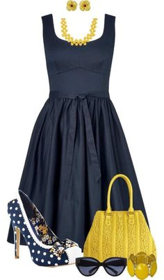 """A-line Dress"" by angiejane ❤ navy & yellow Mode Outfits, Dress Outfits, Casual Outfits, Woman Outfits, Look Fashion, Womens Fashion, Fashion Trends, Trending Fashion, Fashion 2018"