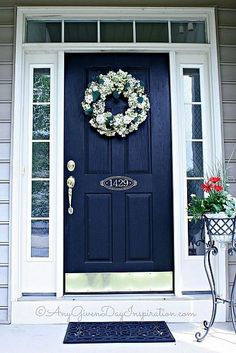 Link leads to DIY Custom Sidelights Using Frosted Vinyl but I like the Door color and decor :)