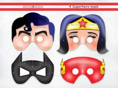 Superheroes Printable Maskswonder by HolidayPartyHall on Etsy