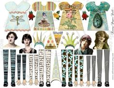 Altered Art Kit FuNnY PaPEr DoLL for Journal Page Atc by JLeeloo, $3.70