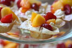 Cherry-Peach Wonton Cups with Lemon-Mascarpone Cream