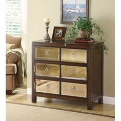 """Coaster Distressed walnut finish wood hall console entry table cabinet with 3 mottled antique mirror front drawers at Sears.com (who knew).... 36"""" x 16"""" x 32"""" H $450"""