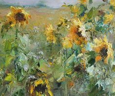 Plein Air Mountain Landscape - Artifax Antiques - Brands One Kings Lane Autumn Painting, Oil Painting Flowers, Abstract Flowers, Paintings Of Sunflowers, Paintings I Love, Beautiful Paintings, Landscape Art, Landscape Paintings, Mountain Landscape