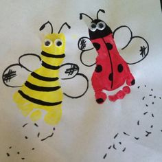 """Lady bug & bee baby feet print craft! - idea for get well card: """"I hope you get over your bug soon!"""""""