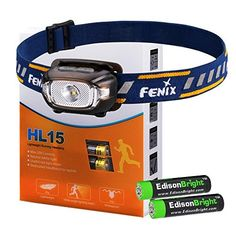 Fenix HL15 200 Lumen light weight CREE LED Headlamp Black color body with 2 X EdisonBright AAA alkaline battery bundle -- Check this awesome product by going to the link at the image.