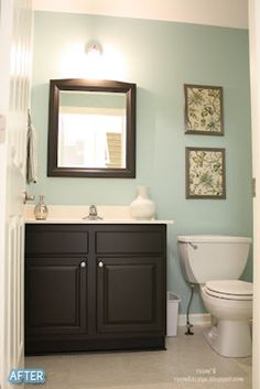 Downstairs bathroom - Aqua - This is the exact color we have picked out. And I am thinking either tan accent colors, or dark brown accent colors. I haven't decided yet. The cabinets we have are maple, but they may not fit, so if they dont, we are going with the dark wood and dark brown accent colors!