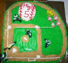 Baseball Field Cake: My son turned 5 this year and just finished his first season of baseball.  He specifically asked for a baseball field cake, so this is what I came up with.