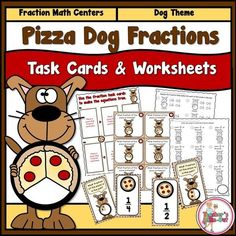 Pizza Dog Fractions Task Cards and Worksheets - $4.75