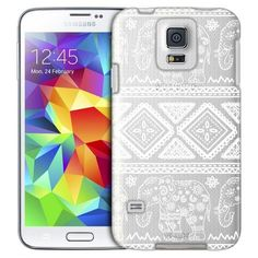 Samsung Galaxy S5 White Lace Aztec Elephants Case