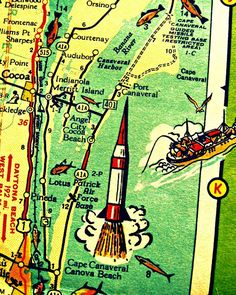 retro Cape Canaveral Florida map print