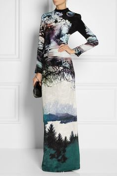 Photographic Prints - silk dress with vivid, high contrast nature print; digital print fashion // Mary Katrantzou