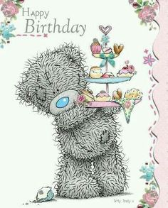 Tatty Teddy Holding Cakes Birthday Me to You Bear Card .