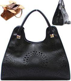 Laser Cut Claudia Satchel in Black