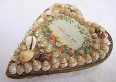 ANTIQUE VICTORIAN SHELL ART VALENTINE SOUVENIR HEART PIN CUSHION c1890