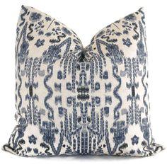 Indigo Blue Ikat Decorative Pillow Cover 18x18 20x20 by PopOColor