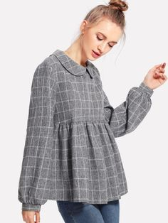 SheIn offers Peter Pan Collar Lantern Sleeve Smock Top & more to fit your fashionable needs. Trendy Fashion, Korean Fashion, Hijab Fashion, Fashion Outfits, Women's Fashion, Sewing Blouses, Stitching Dresses, Stylish Dresses For Girls, Blouse Designs